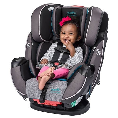 The Symphony DLX in front-facing position with a seated toddler.