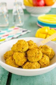 Baked mango chicken bites. -Baby-Led Weaning Chicken Recipes | Baby Journey