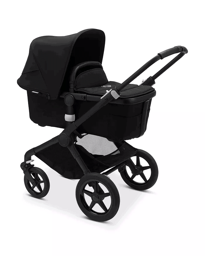 Bugaboo Fox 2 bassinet attachment accomodates infants from birth.