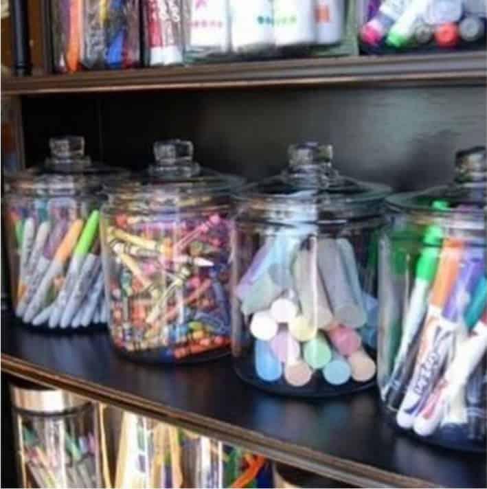 Glass Jar Storage for Toys and Crayon
