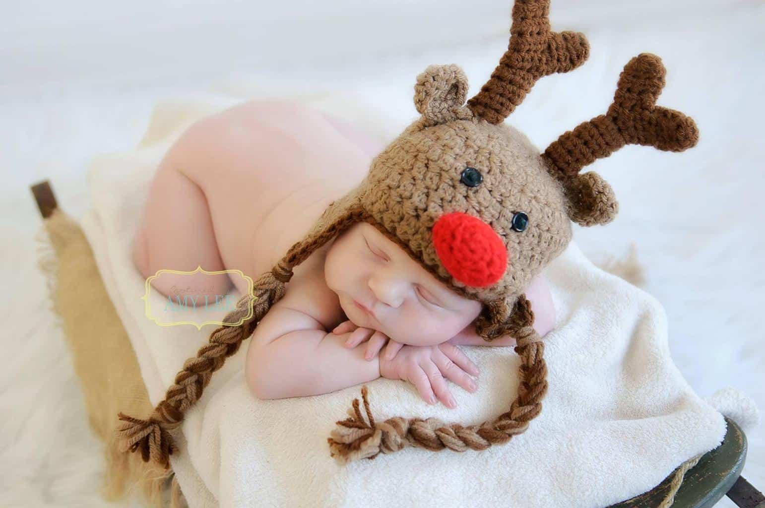 Crochet Rudolph the Red Nose Reindeer hat, Baby Christmas Hat, Newborn  Photo Prop, Holiday hat | Baby christmas hat, Baby christmas gifts,  Christmas photo props