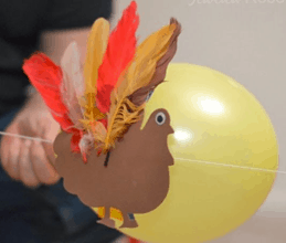 easy craft turkey balloon rocket for toddler