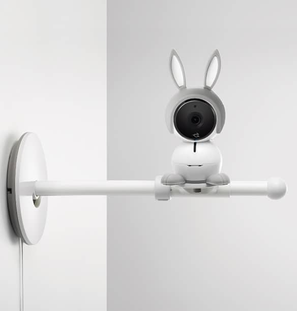 Arlo Baby Monitor attached to a wall stand. - Arlo Baby Monitor Review | Baby Journey