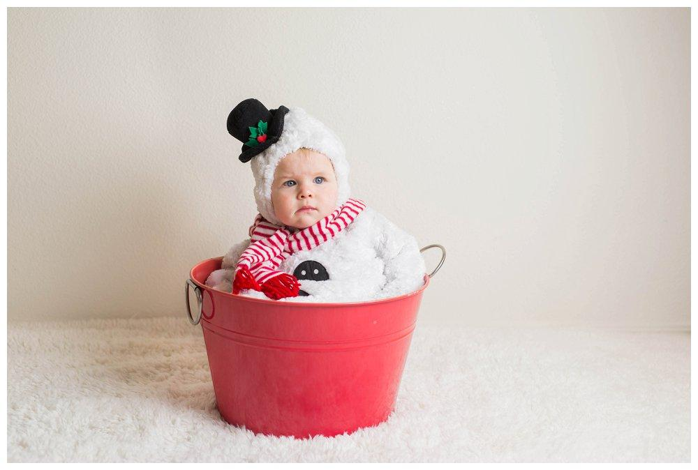 snowman in buckey - diy christmas pictures by babyjourney