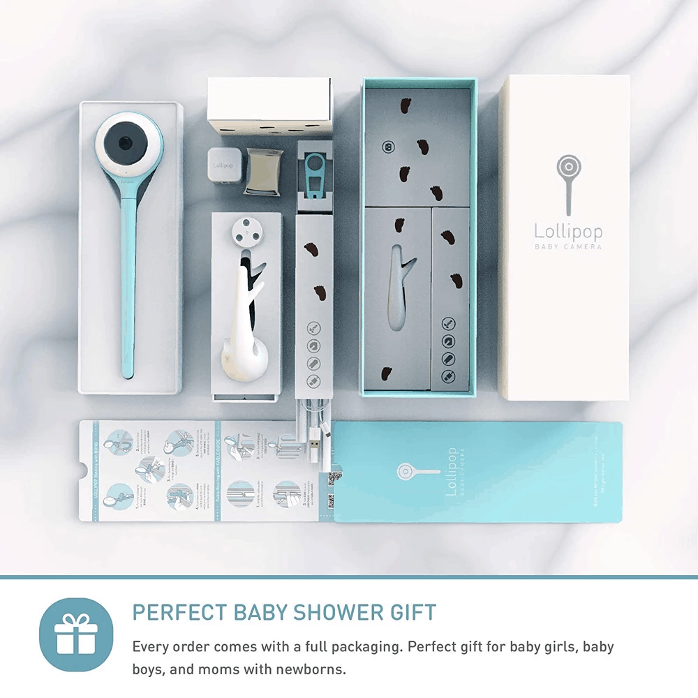 There are multiple mounting types included in the package. - Lollipop Baby Monitor Review   Baby Journey