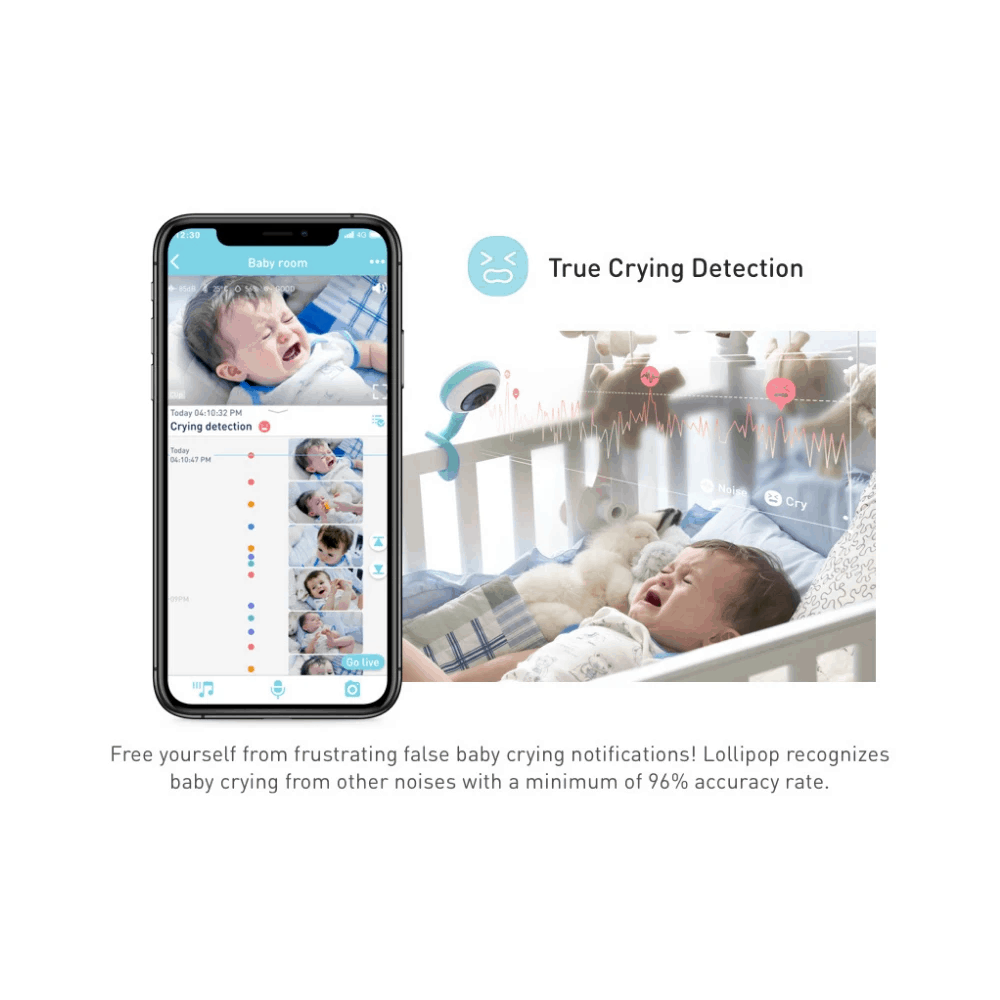 The Lollipop app showing true crying detection alerts.- Lollipop Baby Monitor Review   Baby Journey