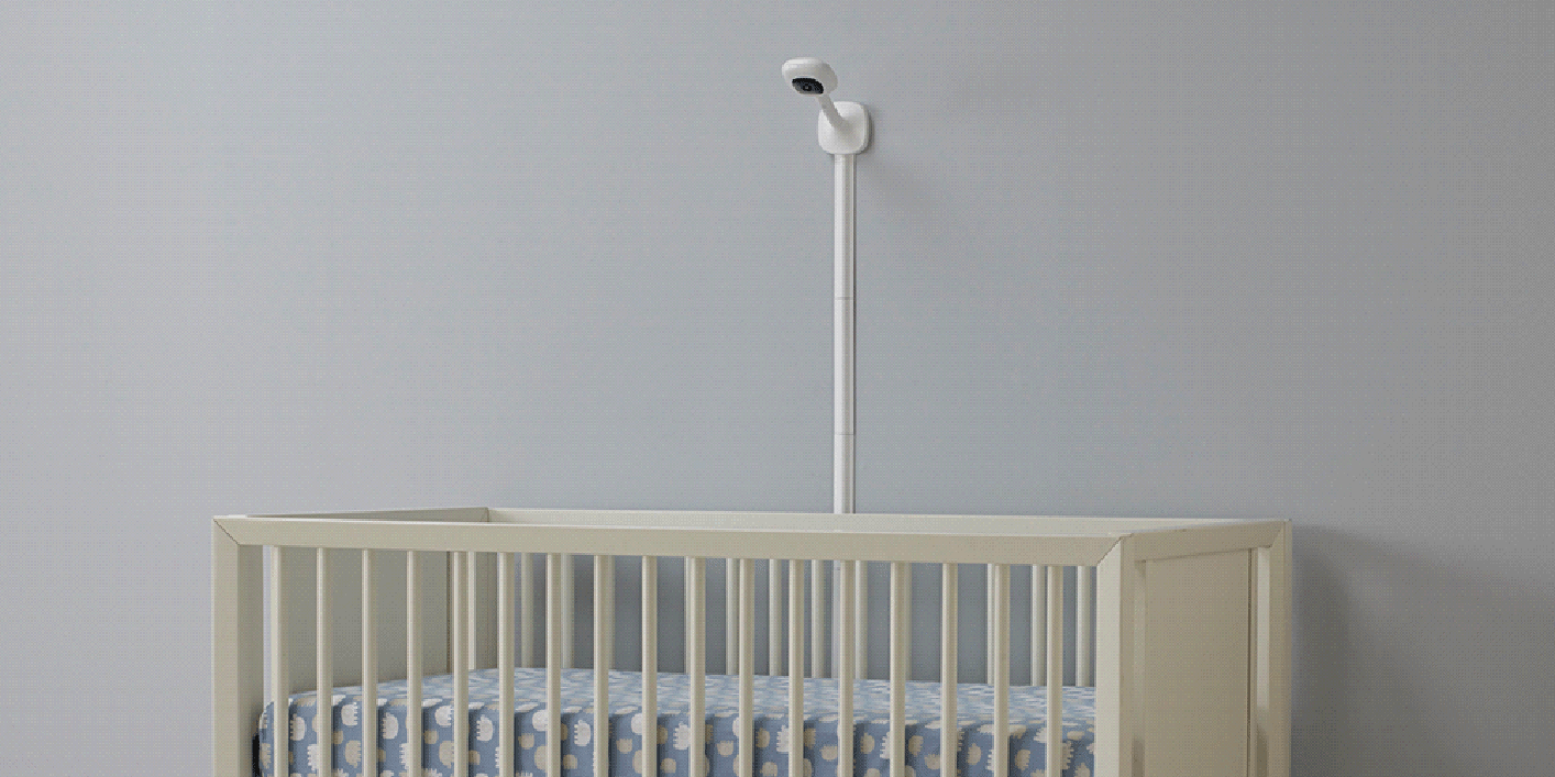 An example of baby monitor wall mounting for Nanit Plus. - Where to Put Baby Monitor?   Baby Journey