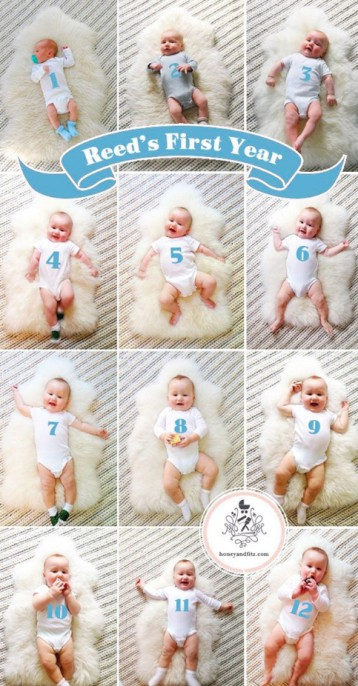 numbered onesies for baby from 1st month to 1year old - monthly baby photo ideas | Babyjourney