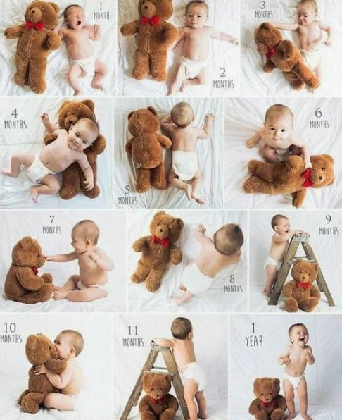 baby outgrown his / her buddy! - baby monthly milestone ideas | babyjourney