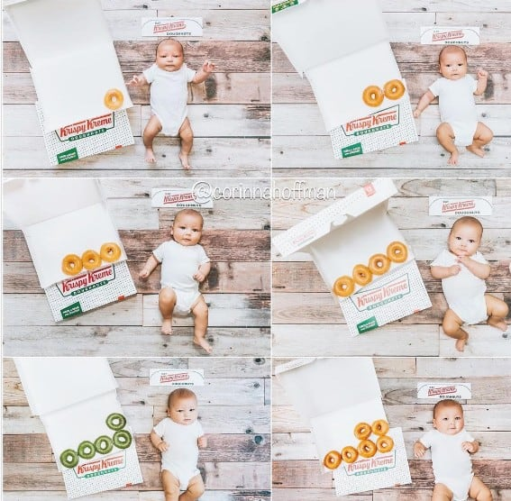 every month baby photos with donuts | babyjourney