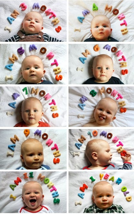 milestone rainbow  - 1 to 12 months baby pictures