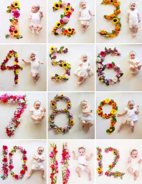 cute ideas for monthly baby pictures - use the flower to make baby photo