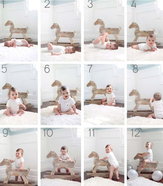 month by month baby picture ideas  - rocking on the hourse