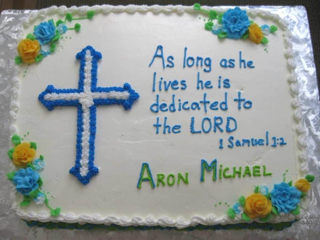 Short Bible verses with sugar frosting are always a good idea. - What to Write on Baptism Cake | Baby Journey