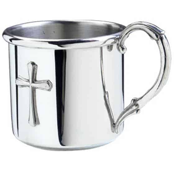 Stunning pewter cup with a cross symbol.  - What Do Godparents Buy for Baptism | Baby Journey
