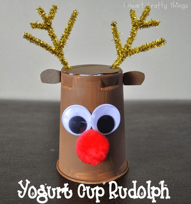 christmas crafts for toddlers pinterest - yogurt cup rudolph