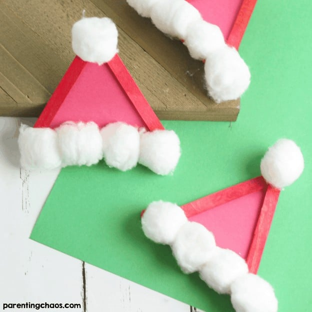 simple easy christmas crafts for toddler - popsicle santa hat