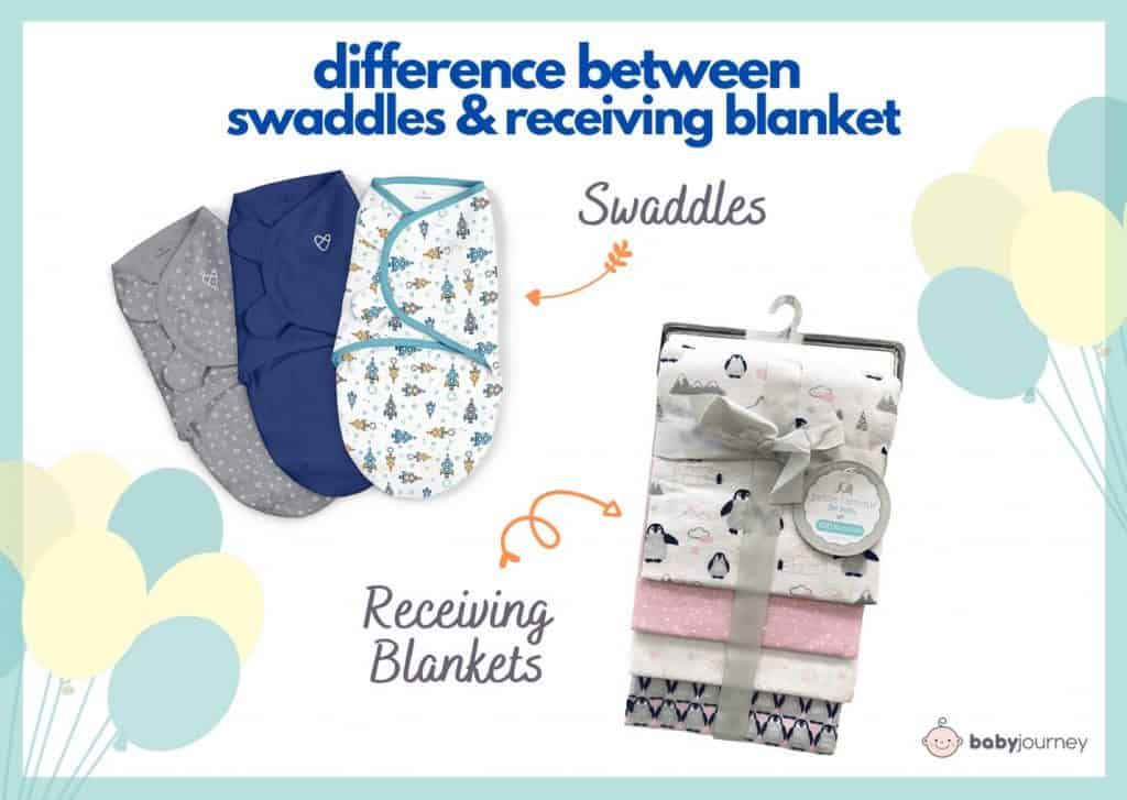 Swaddles usually come with convenient features like zippers and Velcro while receiving blankets are just simple piece of cloths to wrap your baby.  - How Many Swaddles Do You Need? | Baby Journey
