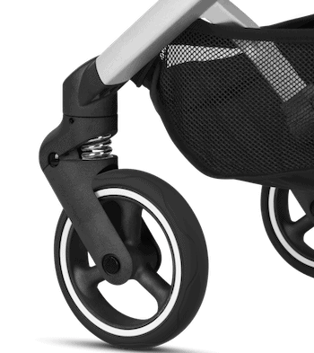 The small and sturdy 360-degree swiveling wheel allows easy one-hand steering by the parents. - GB Pockit Stroller Review | Baby Journey