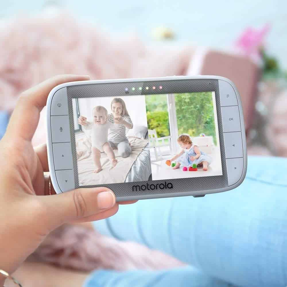 The split screen function in Motorola's MBP50 is convenient for watching over twins or two kids. - Samsung vs Motorola Baby Monitor | Baby Journey