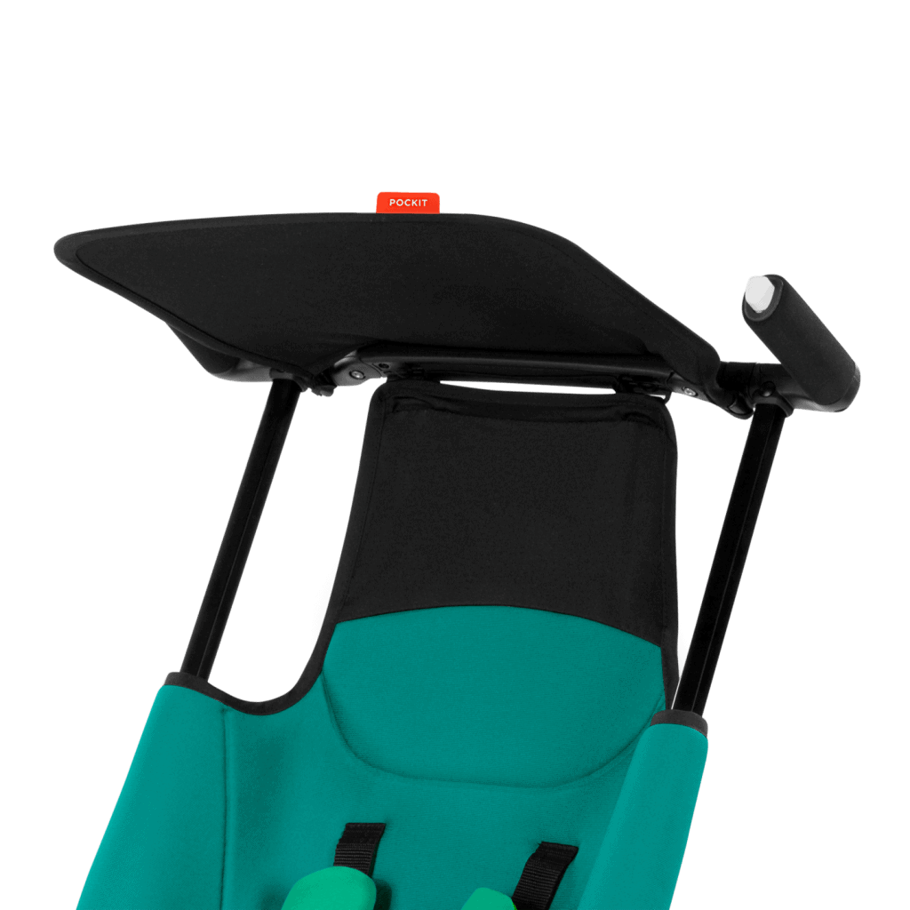 The Pockit featuring a small canopy to protect your baby from the heat, while the simple handlebars makes steering your baby around a breeze. - GB Pockit Stroller Review | Baby Journey