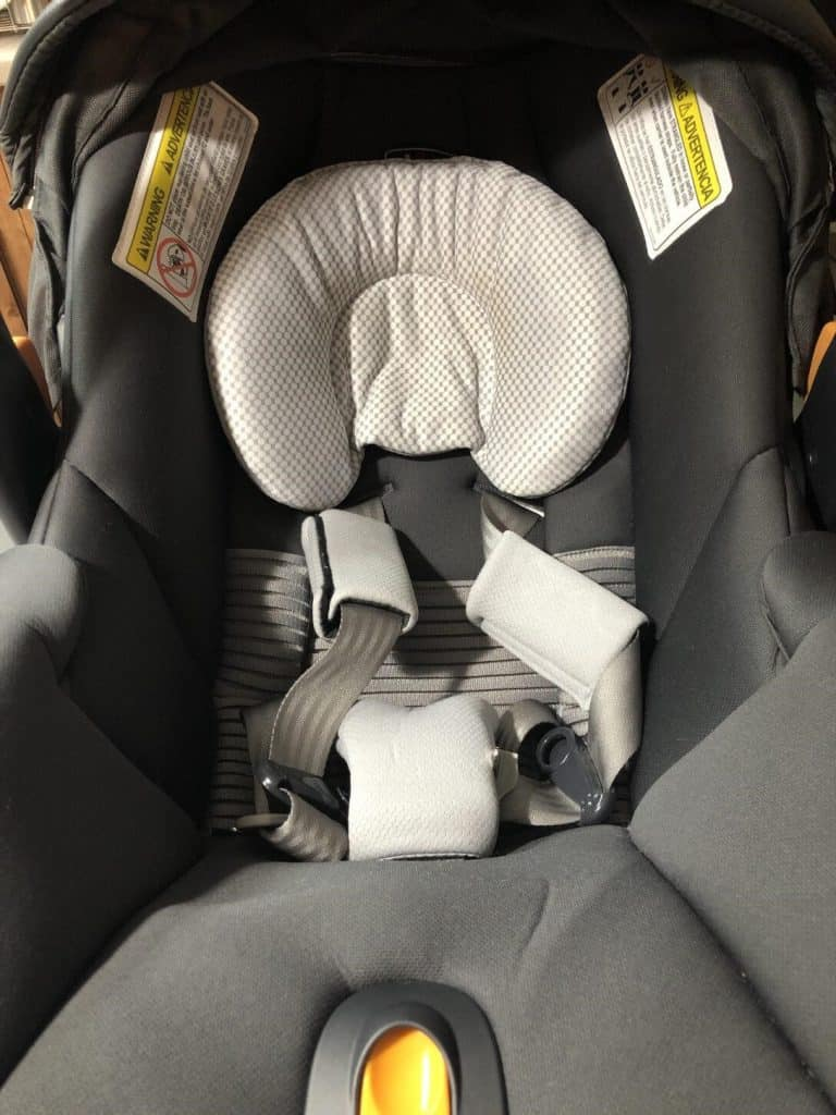The infant car seat insert supports the baby's head and neck posture. - Chicco KeyFit 30 Infant Car Seat Review | Baby Journey