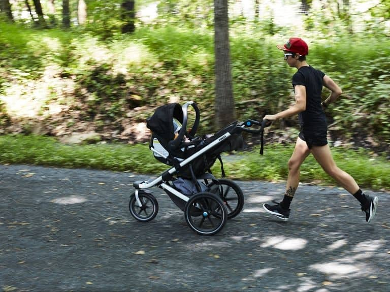 A jogging stroller with a car seat adapter is appropriate for a baby under 6 months.- When Can You Jog with Baby? | Baby Journey