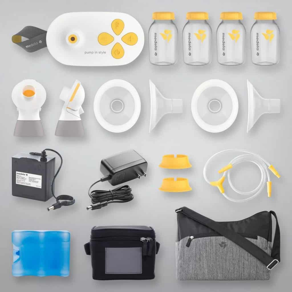 The parts of an electric pump.- Electric vs Manual Breast Pump   Baby Journey