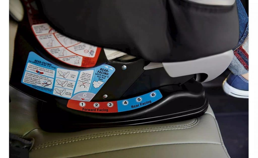 The color coded recline guide. - Graco Extend2Fit Review | Baby Journey