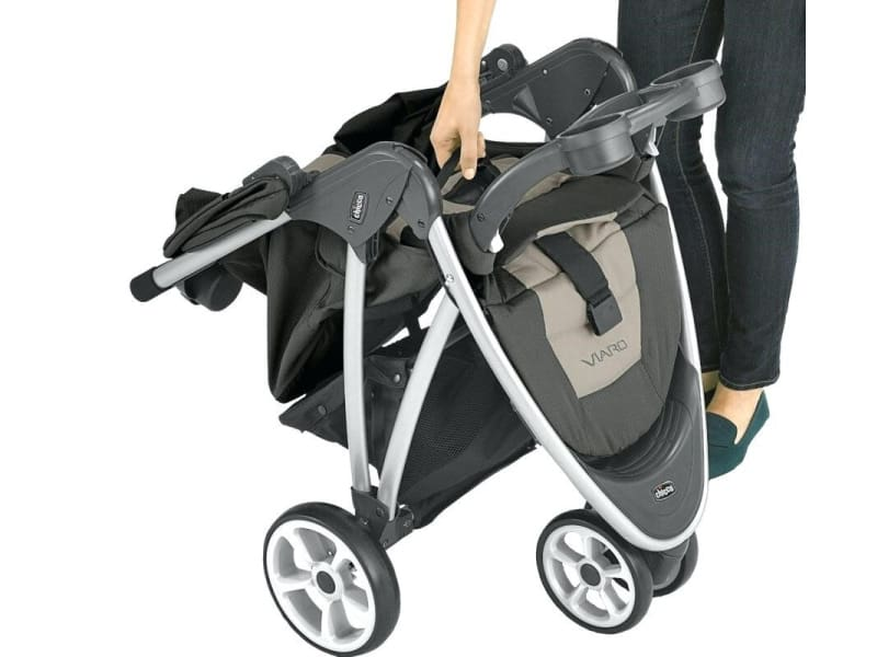 The folded stroller is easy to carry.. - Chicco Viaro Travel System Review | Baby Journey