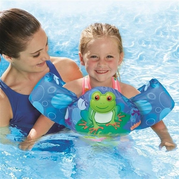 It is okay to use floaties during early beginner lessons | A Guide On How to Teach A Toddler to Swim | Baby Journey
