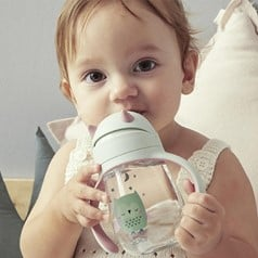 A sippy cup with a straw is a great way to move on to individual feeding! - Sippy Cup vs Bottle: Pros & Cons, When to Swap and More  | Baby Journey