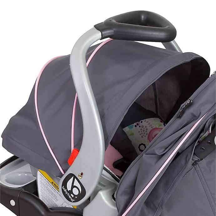 The unique delta handle is lined with smooth comfortable rubber.- Baby Trend EZ Flex-Loc Plus Infant Car Seat Review | Baby Journey