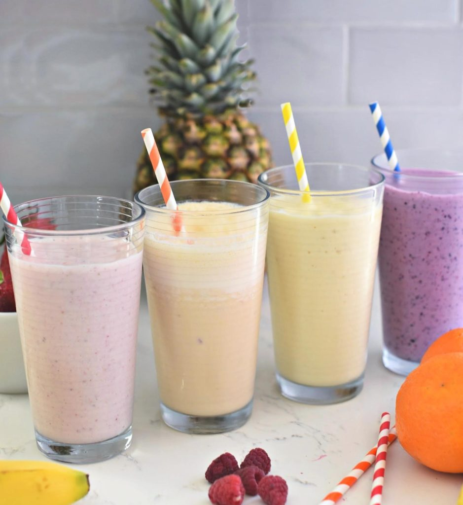 Dairy products are the base for most protein-rich smoothies, but you can use soy milk as well. - 16 Irresistibly Yummy Smoothie Recipes for Kids and Toddlers   Baby Journey Blog