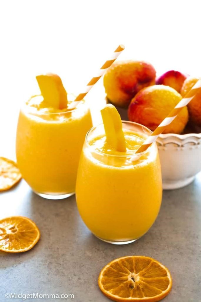 If you don't have fresh peaches, use peach yogurt, and the texture will be creamier! - 16 Irresistibly Yummy Smoothie Recipes for Kids and Toddlers   Baby Journey Blog
