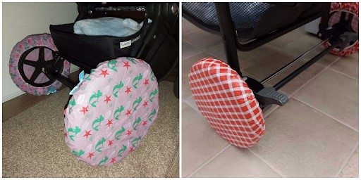 Shower Caps Seal Up Dirty Wheels.- 45 Awesome Stroller Hacks for A Stress-Free Outing with Baby   Baby Journey Blog