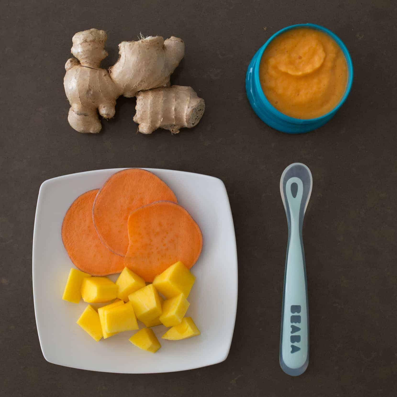 Ginger with Sweet Potato and Mango   21 Stage 2 Baby Food Recipes Your Baby Will Love   Baby Journey