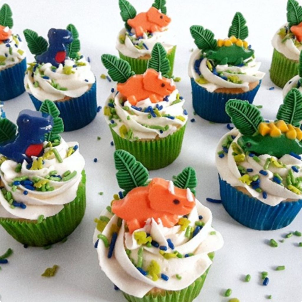 Dino Cupcakes - 42 Unique Baby Shower Cakes and Baby Shower Cupcakes Ideas - Baby Journey Blog
