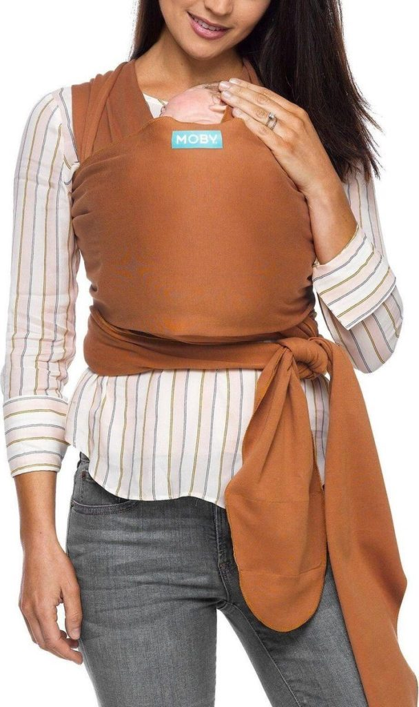 The Moby Evolution baby wrap resembles the Classic Moby wrap but is made of different fabric. - Moby vs. Boba Wrap: Which is the Better Baby Carrier? - Baby Journey Blog