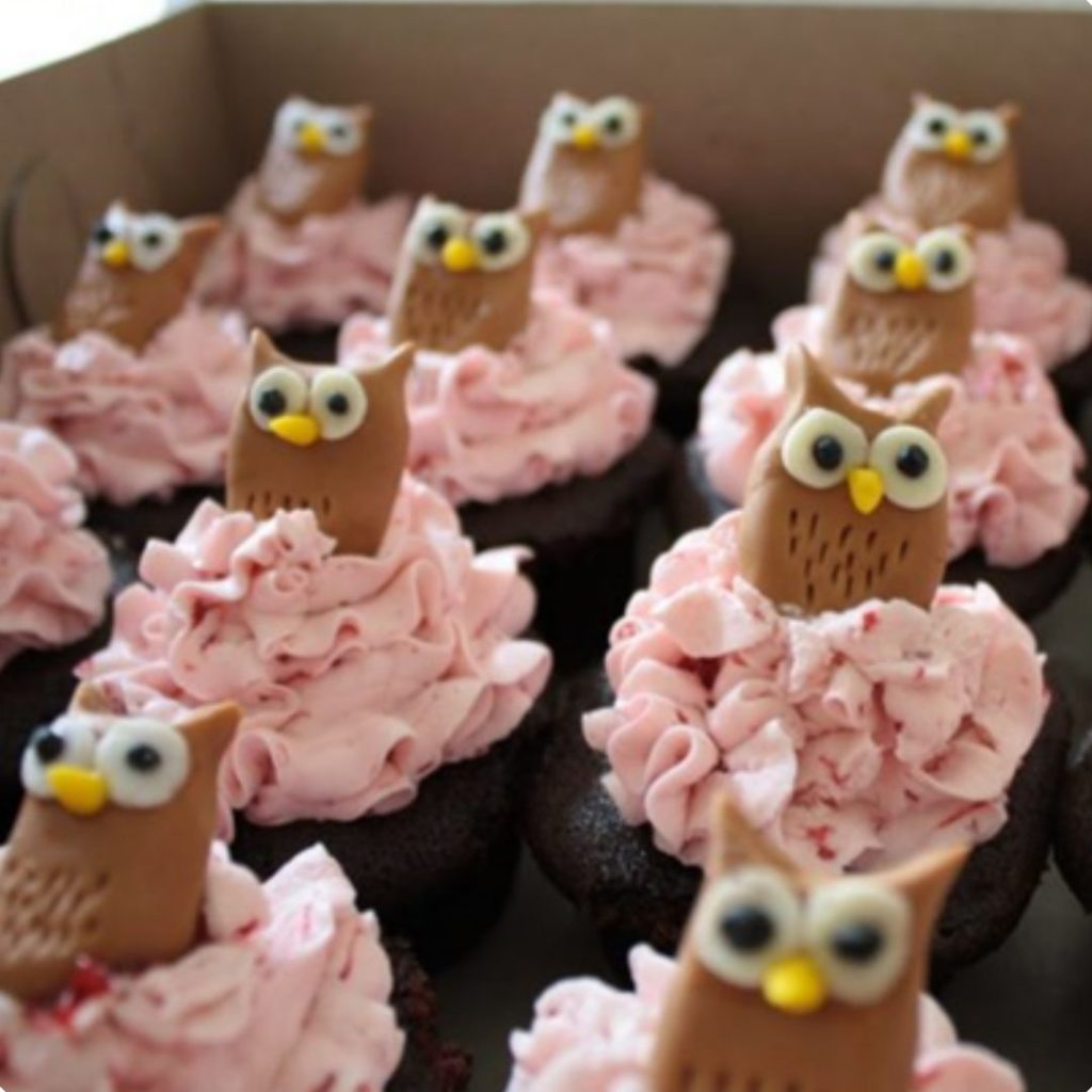 Little Owl Baby Shower Cupcakes - 42 Unique Baby Shower Cakes and Baby Shower Cupcakes Ideas - Baby Journey Blog