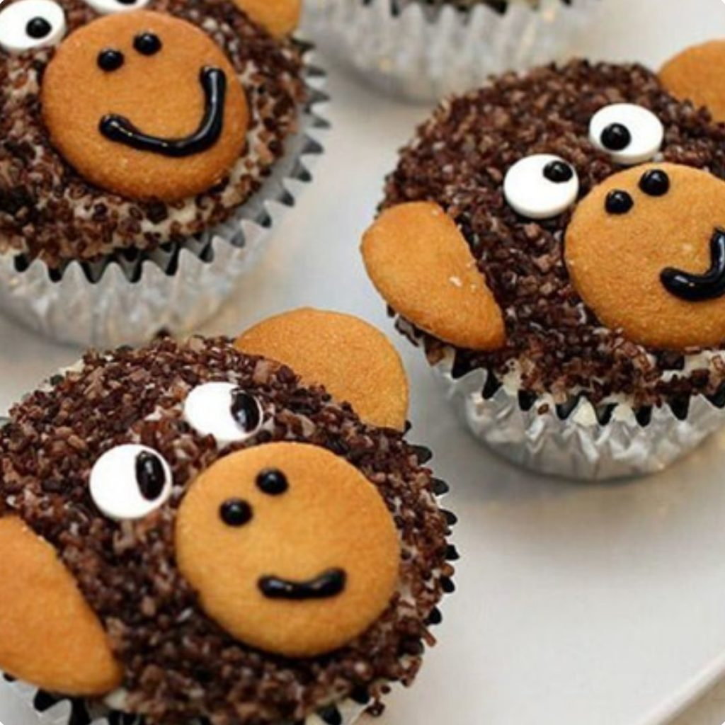Sweet Monkey Cupcakes - 42 Unique Baby Shower Cakes and Baby Shower Cupcakes Ideas - Baby Journey Blog