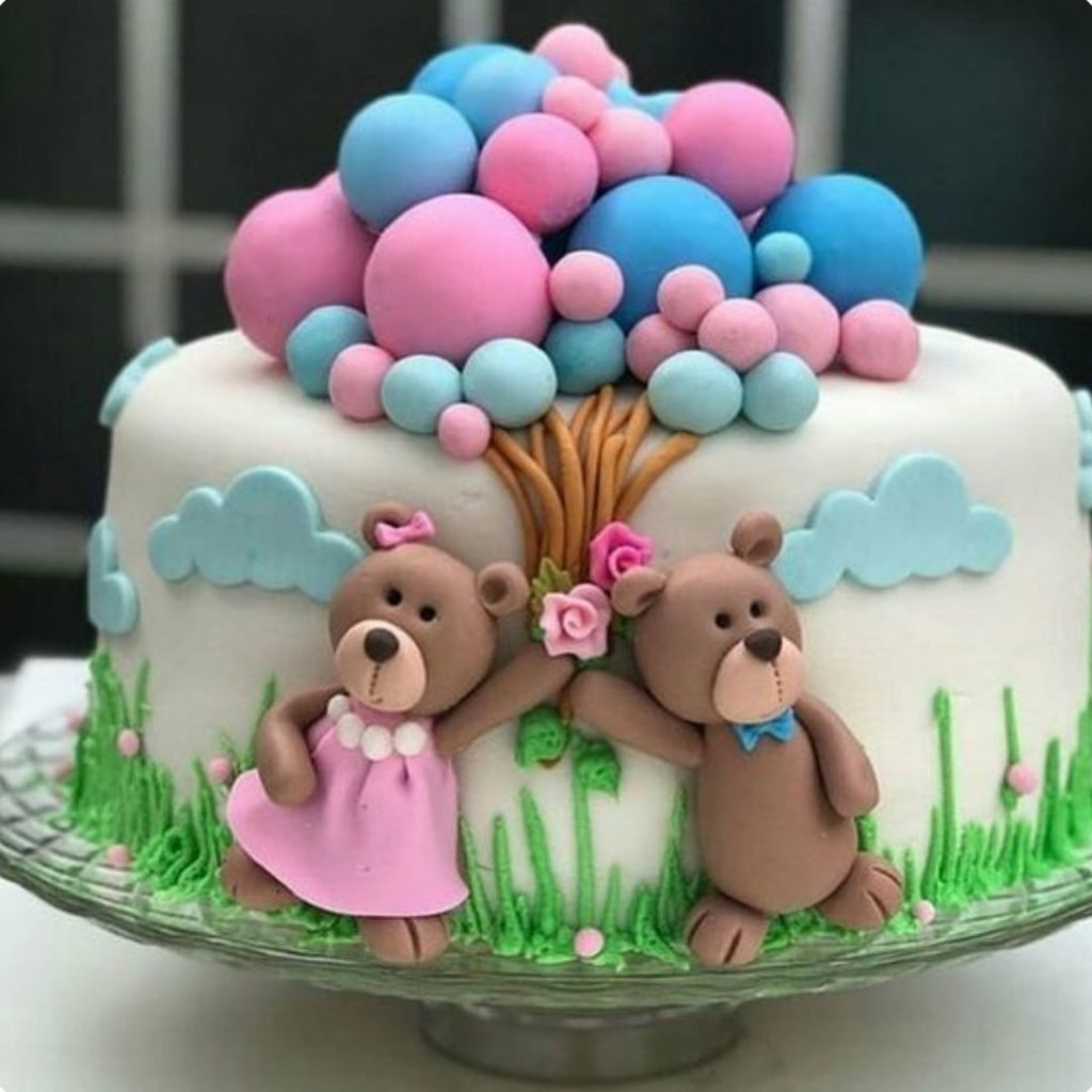 Teddy Bears and Balloons Cake - 42 Unique Baby Shower Cakes and Baby Shower Cupcakes Ideas - Baby Journey Blog