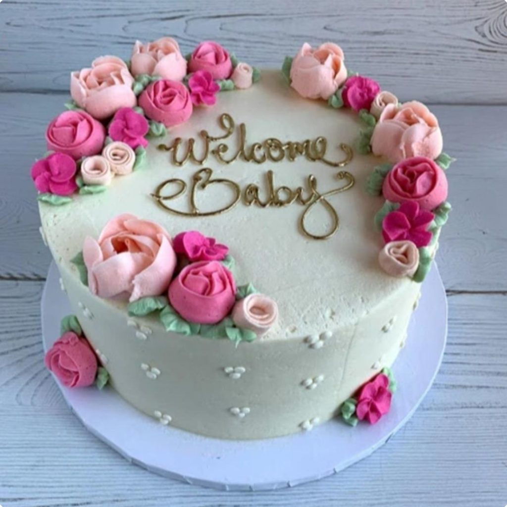 Elegant Floral Cake - 42 Unique Baby Shower Cakes and Baby Shower Cupcakes Ideas - Baby Journey Blog