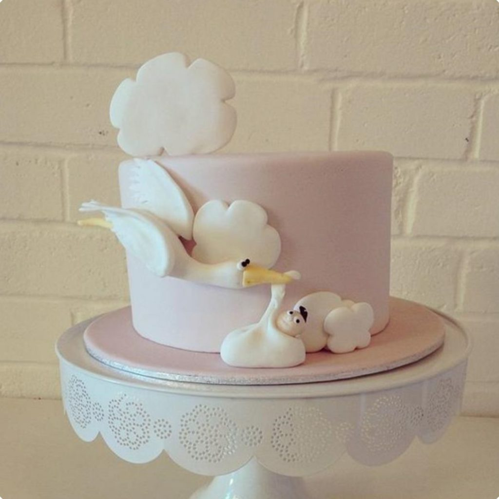 Lovely Stork Cake - 42 Unique Baby Shower Cakes and Baby Shower Cupcakes Ideas - Baby Journey Blog