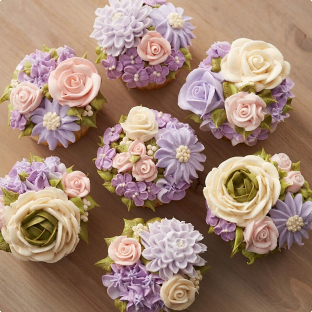 Beautiful Flower Cupcakes for Spring Shower - 42 Unique Baby Shower Cakes and Baby Shower Cupcakes Ideas - Baby Journey Blog