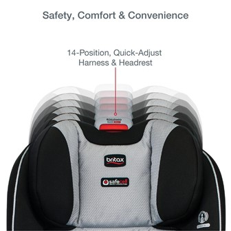 The 14 position quick adjust harness and headrest ensure your little one's comfort and safety at all times - Britax Boulevard Clicktight Convertible Car Seat Review 2021 - Baby Journey blog
