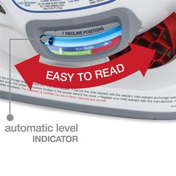 The automatic level indicators indicate the angle of the car seat compared to the angle of the vehicle seat - Britax Boulevard Clicktight Convertible Car Seat Review 2021 - Baby Journey blog