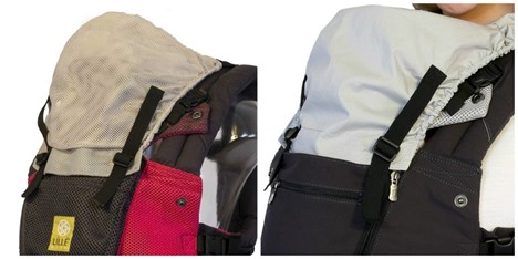 The left one is the hood for Lillebaby AirFlow while the right one is the hood for Lillebaby All Seasons - Lille Baby Carrier Review - Baby Journey blog