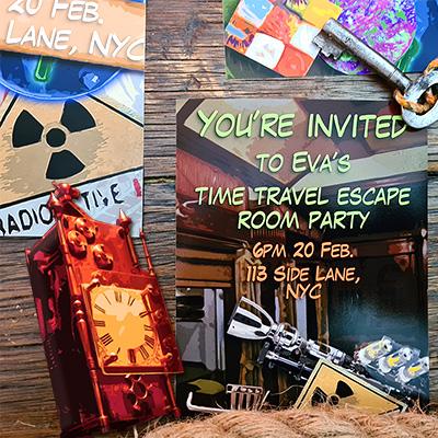 Party invites that come as a bonus in the Escape Quest kit - Escape Quest Kids Review - Baby Journey blog